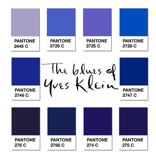 yves klein blue pantone den ene af de yves klein. Black Bedroom Furniture Sets. Home Design Ideas