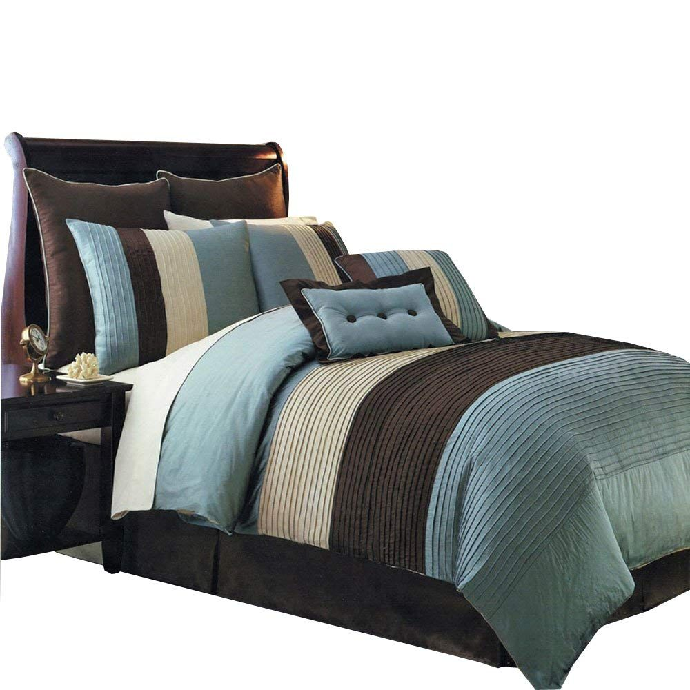 Best Hudson Teal Blue Cal King Size Luxury 12 Piece Comforter 400 x 300