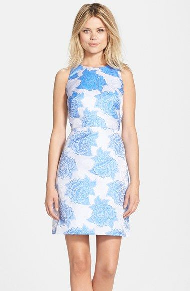 Adrianna Papell Bandage Fit and Flare Dress in Aquamarine