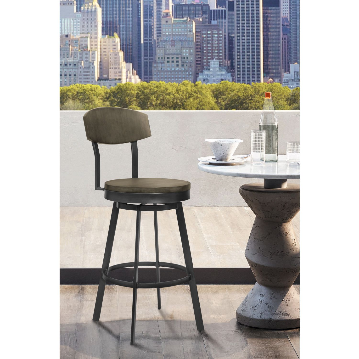 Swell Conway 26 Counter Stool In Mineral Grey Metal Grey Walnut Forskolin Free Trial Chair Design Images Forskolin Free Trialorg