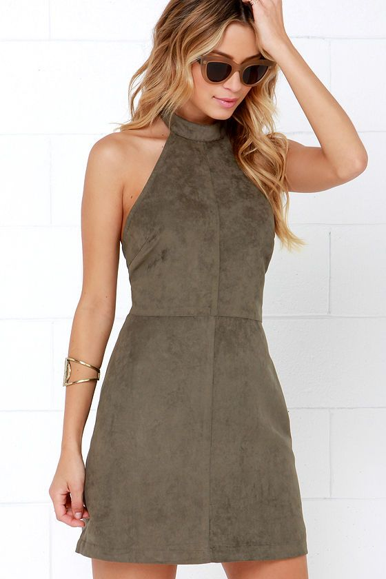c9dda85ab7b4 The Saloon Swoon Olive Green Halter Dress is a sweet little number that you  surely don t want to miss out on! Olive green