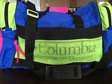 Vintage 80s 90s Neon Columbia Ski Duffle Bag Black Blue Pink Green