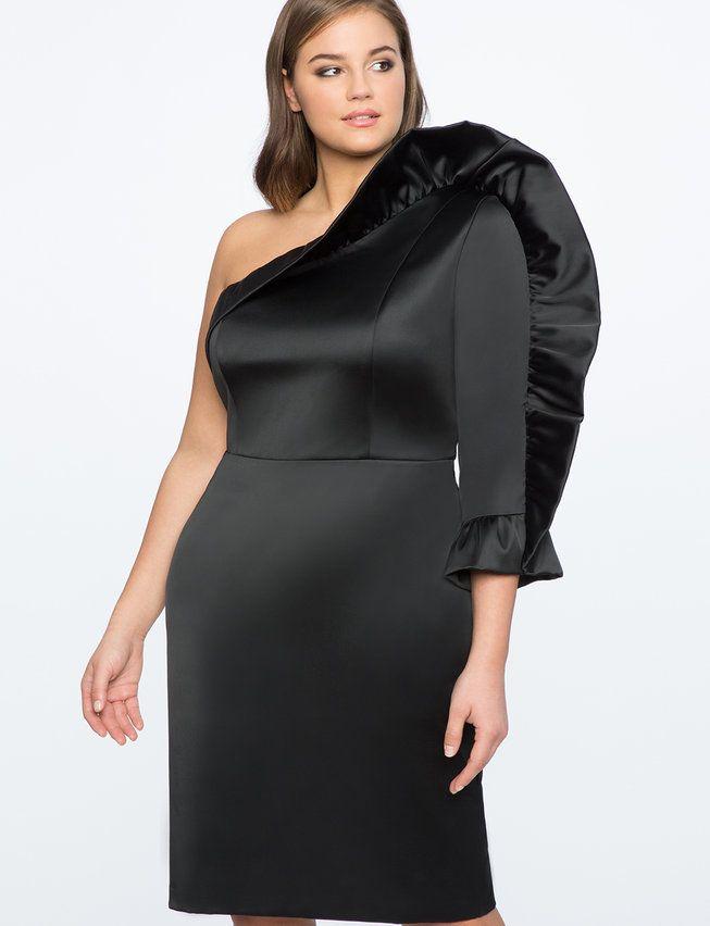 Ruffle Drama One Shoulder Dress Womens Plus Size Dresses