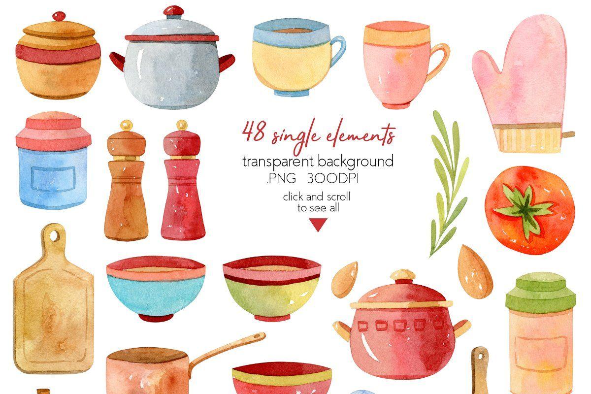 Watercolor Kitchen Utensils Set 2 Kitchen Utensil Set Utensil