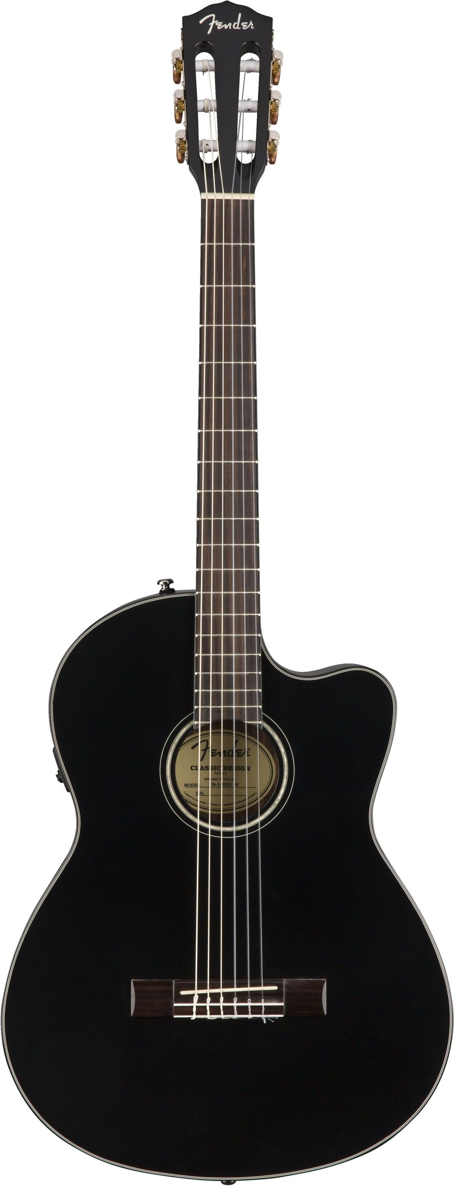 Fender CN-140SCE Nylon-String Acoustic Guitar in Black - Andertons Music Co.