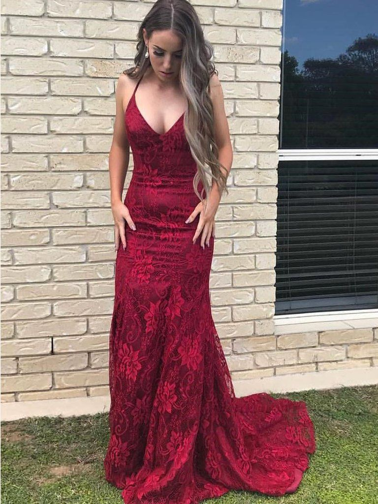 42899fbf8186 Trumpet/Mermaid Prom Dresses Burgundy Spaghetti Straps Lace Long Prom Dress| Amyprom – AmyProm