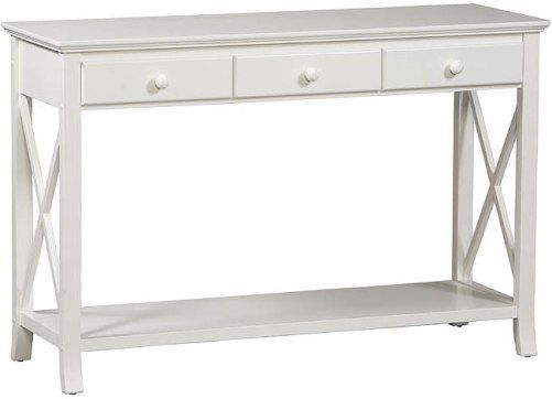 Linon 73641c118 01 Kd U Warwick Console Table Stark White Finish Three Drawers Provide Convenient Storage For Your Magazines Remotes Or Other Items