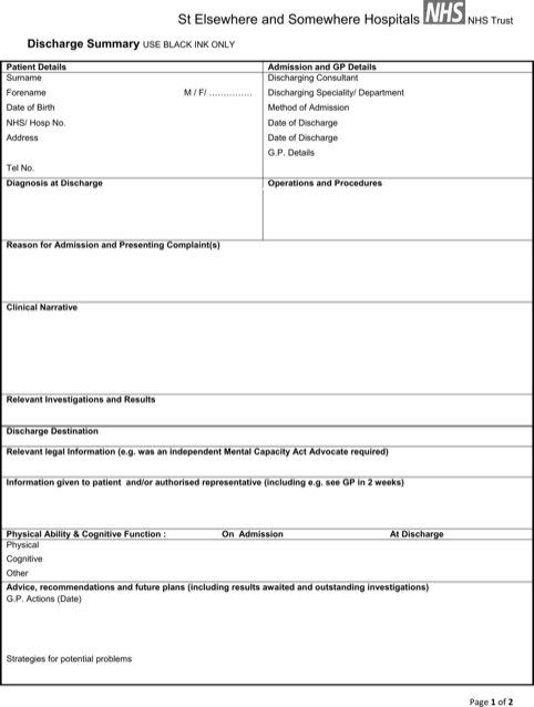 Discharge Summary Template | Templates&Forms | Pinterest | Template ...