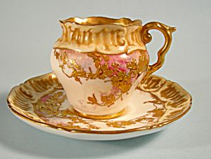 Puffy Doulton Burslem Demi Cup and Saucer Raised Gold