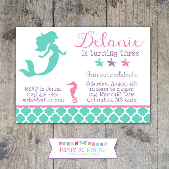 MERMAID SILHOUETTE Birthday Party 5x7 Girl Invitation