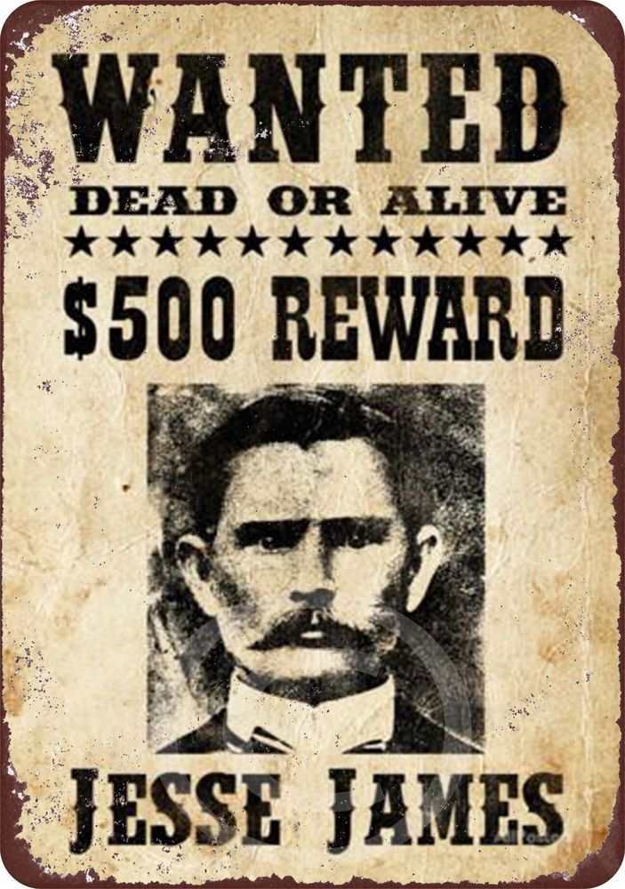 Details About Jesse James Original Wanted Poster Reproduction