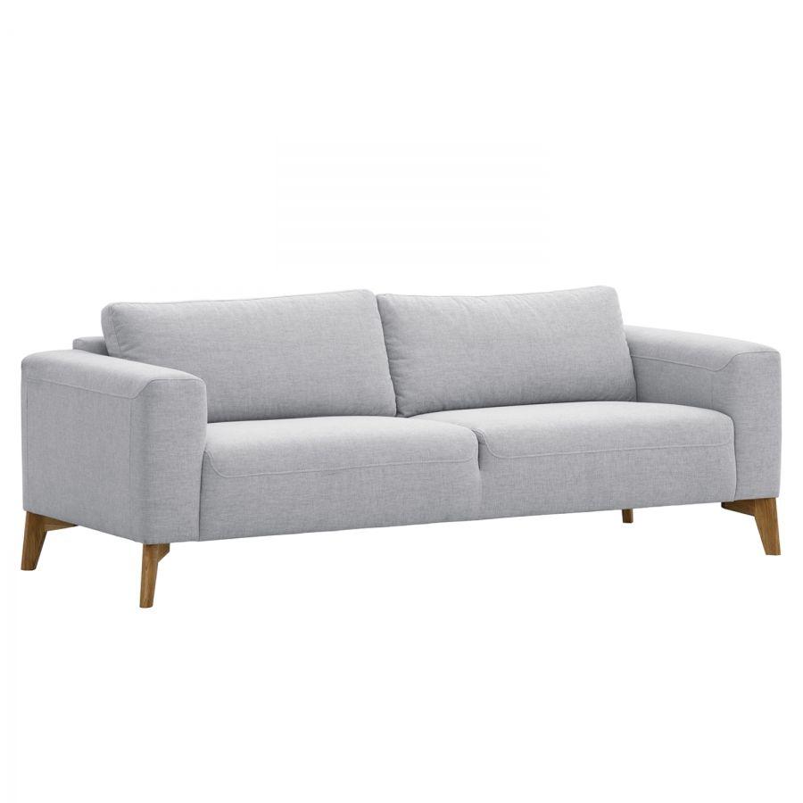 Sofa Bora 3 Sitzer Webstoff Eiche Stoff Saia Hellgrau