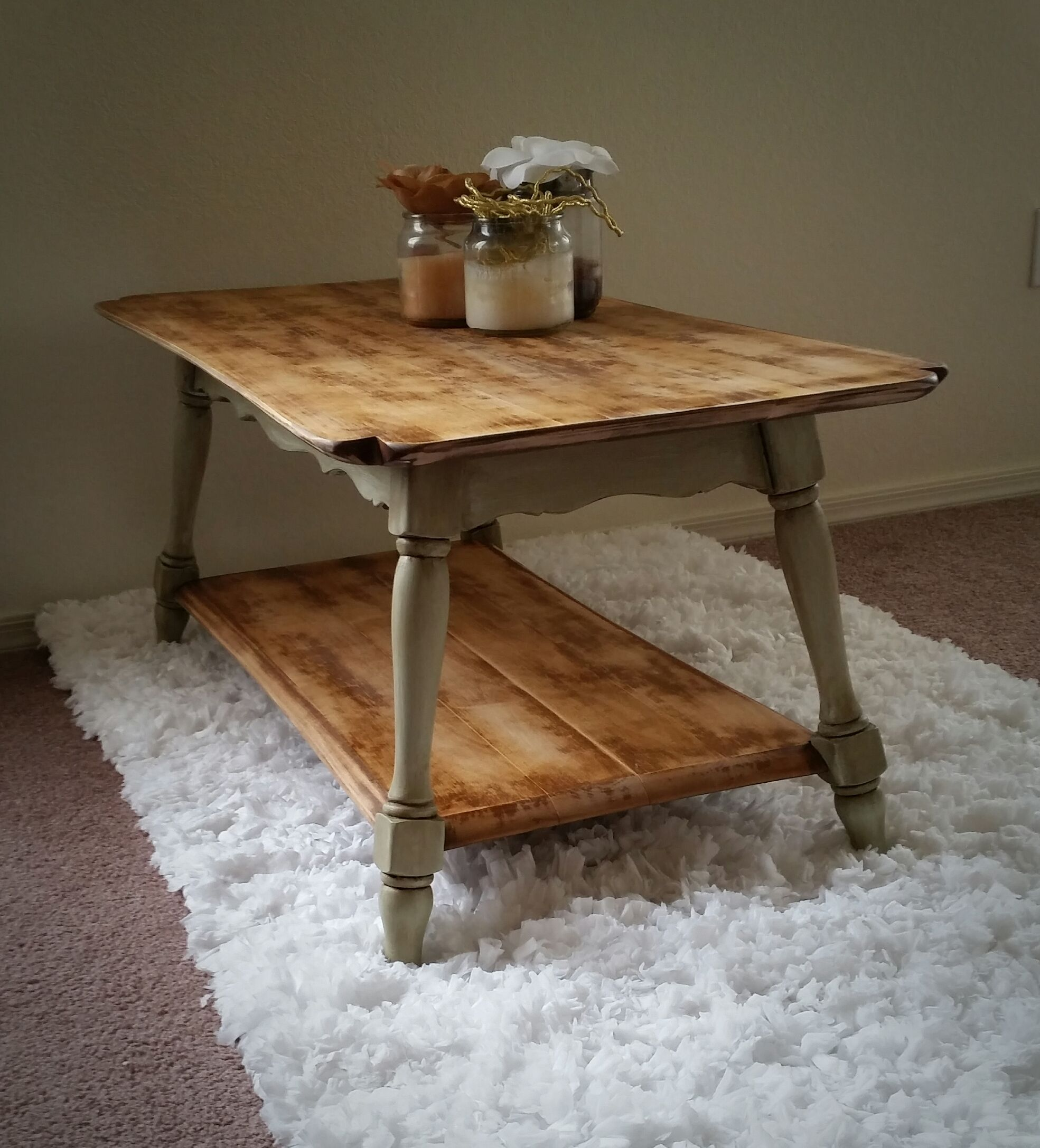 Antique Green Rustic Coffee Table Shabby Chic Vintage Distressed