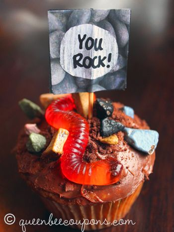 Miraculous Choco Rock Cupcakes With Worms And Dirt With Images Fun Kids Food Funny Birthday Cards Online Overcheapnameinfo