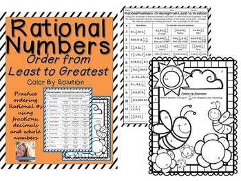 Rational Numbers Order from Least to Greatest Worksheet ...