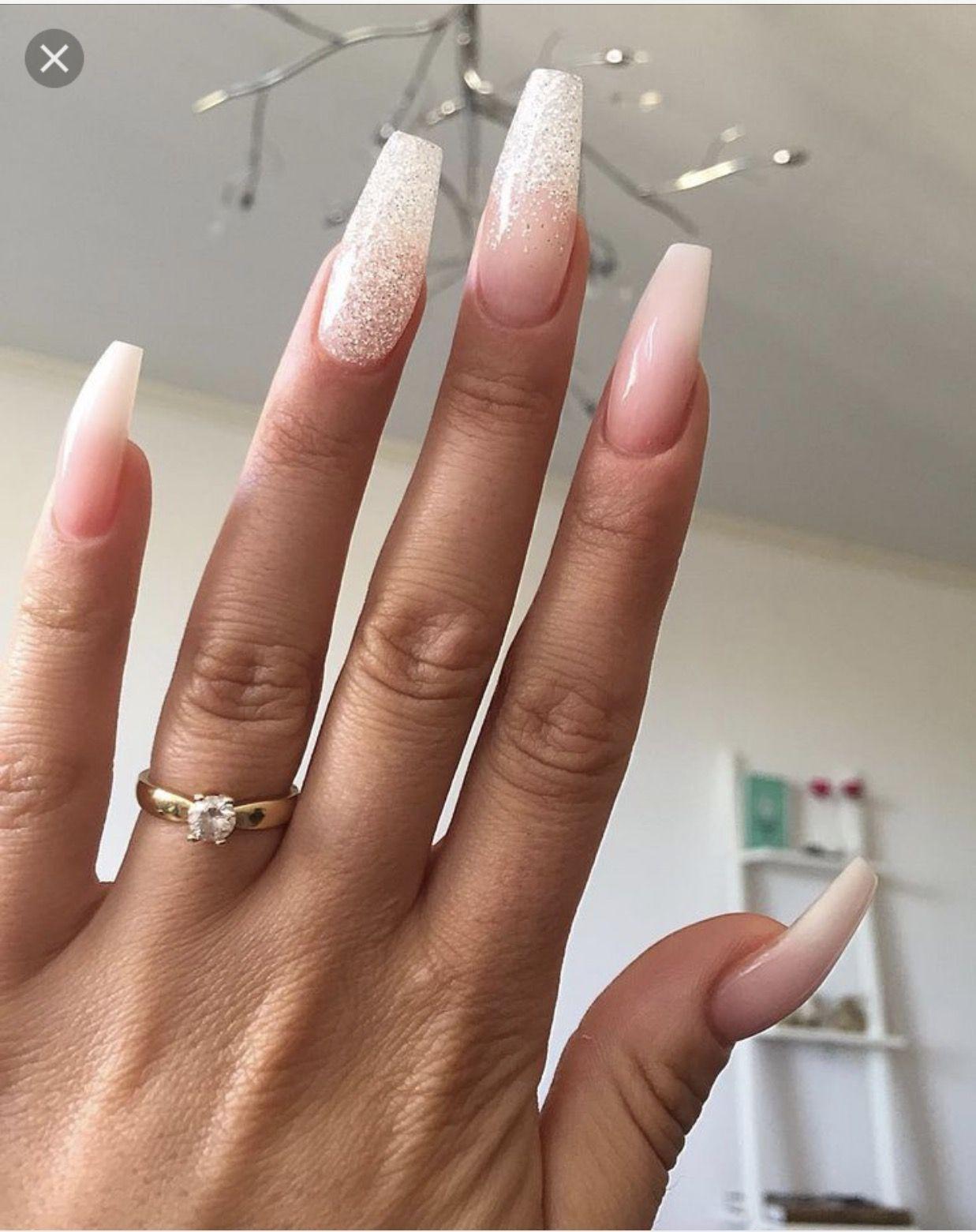 natural acrylic nails with glitter wwwpixsharkcom