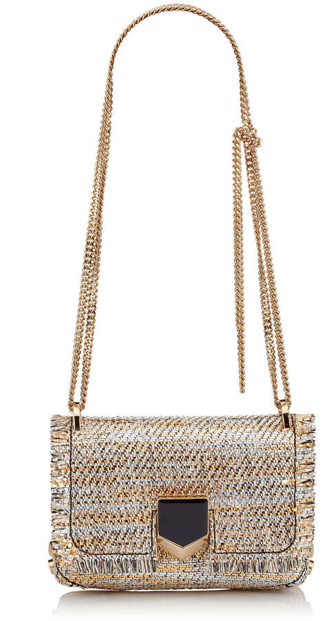 e4941fc1862c Jimmy Choo LOCKETT MINI Silver Mix Woven Metallic Fabric Shoulder ...