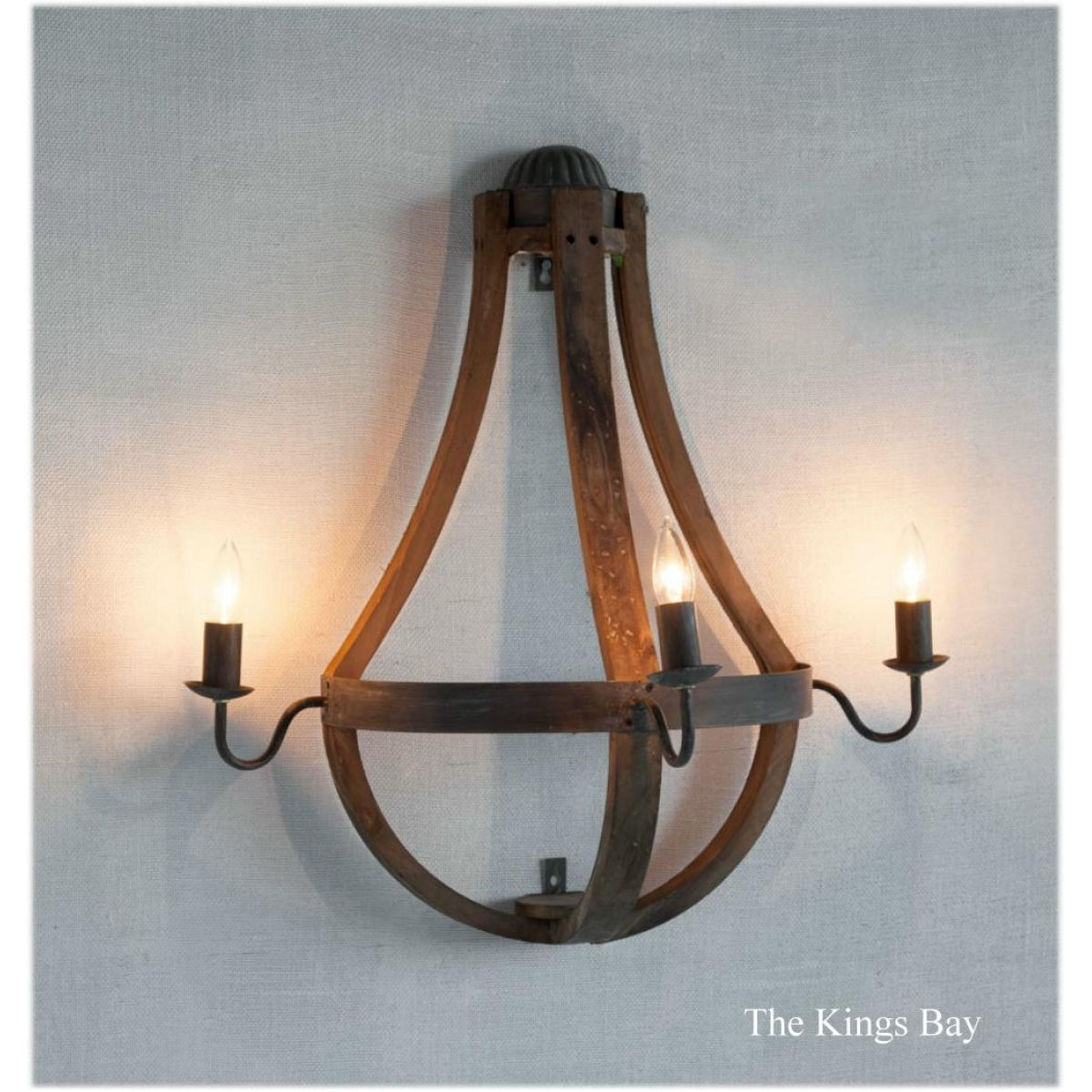 Natural Aged Wood And Metal Wall Sconce Large Light Fixture Rustic Lodge Style