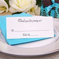 Personalized White Tent Style Place Card printed with Black standard ink and three lines of print in Florentine Cursive lettering style