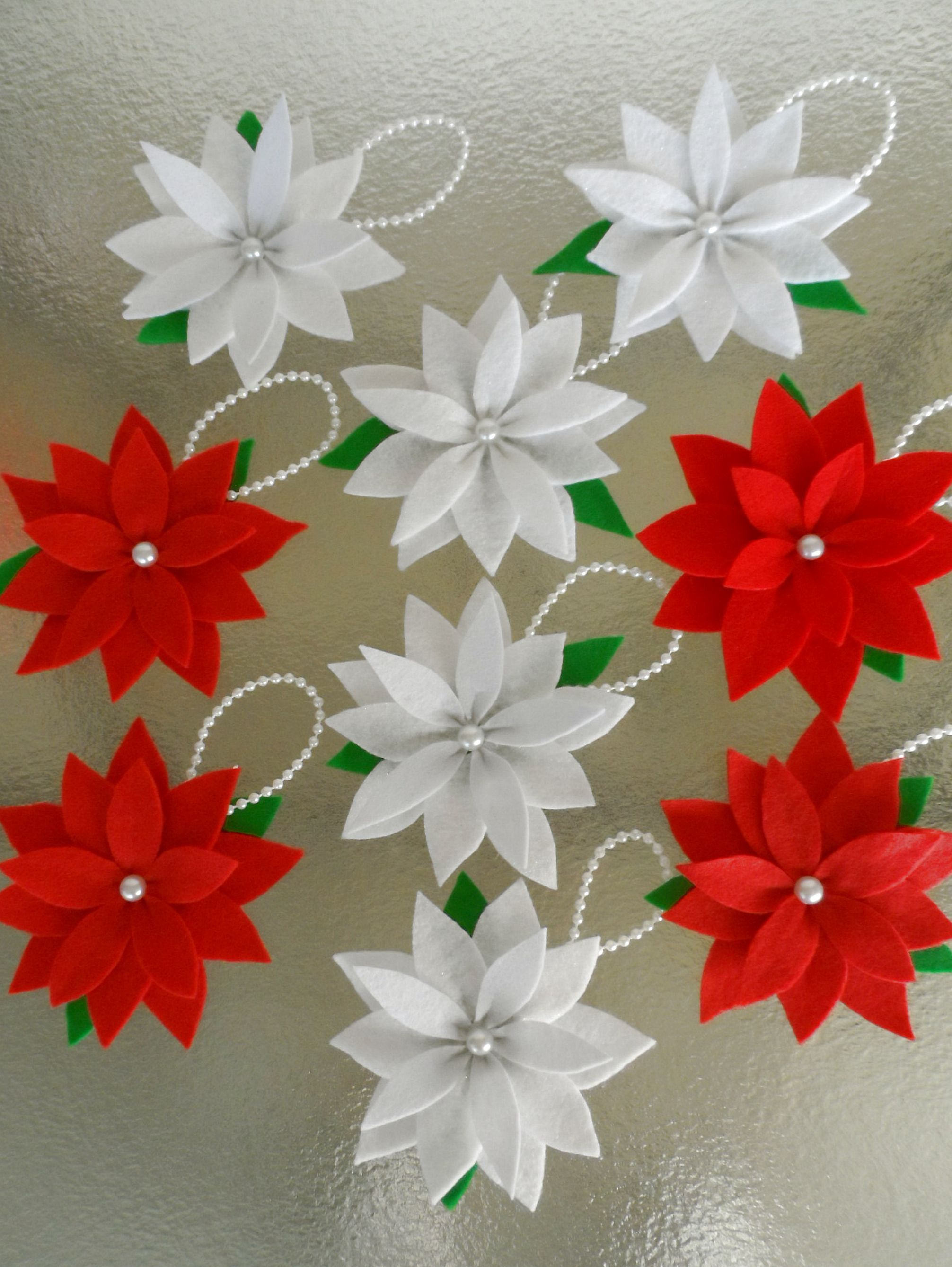 Poinsettia Christmas Ornaments 9 Pack Set Felt Flowers Christmas Floral White Christmas Decor