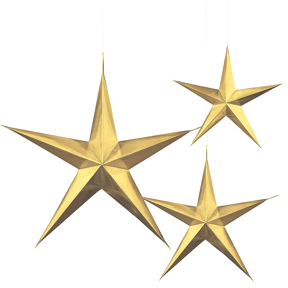 3d Gold Star Decorations 3ct Star Decorations Star Theme Party Gold Stars