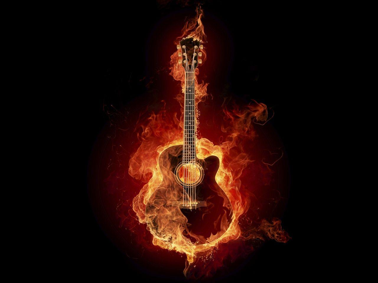 Flames On Fire Fire Flame Guitar Music Wallpaper In 1280x960 Resolution Music Guitar Images Fire Art Music Wallpaper