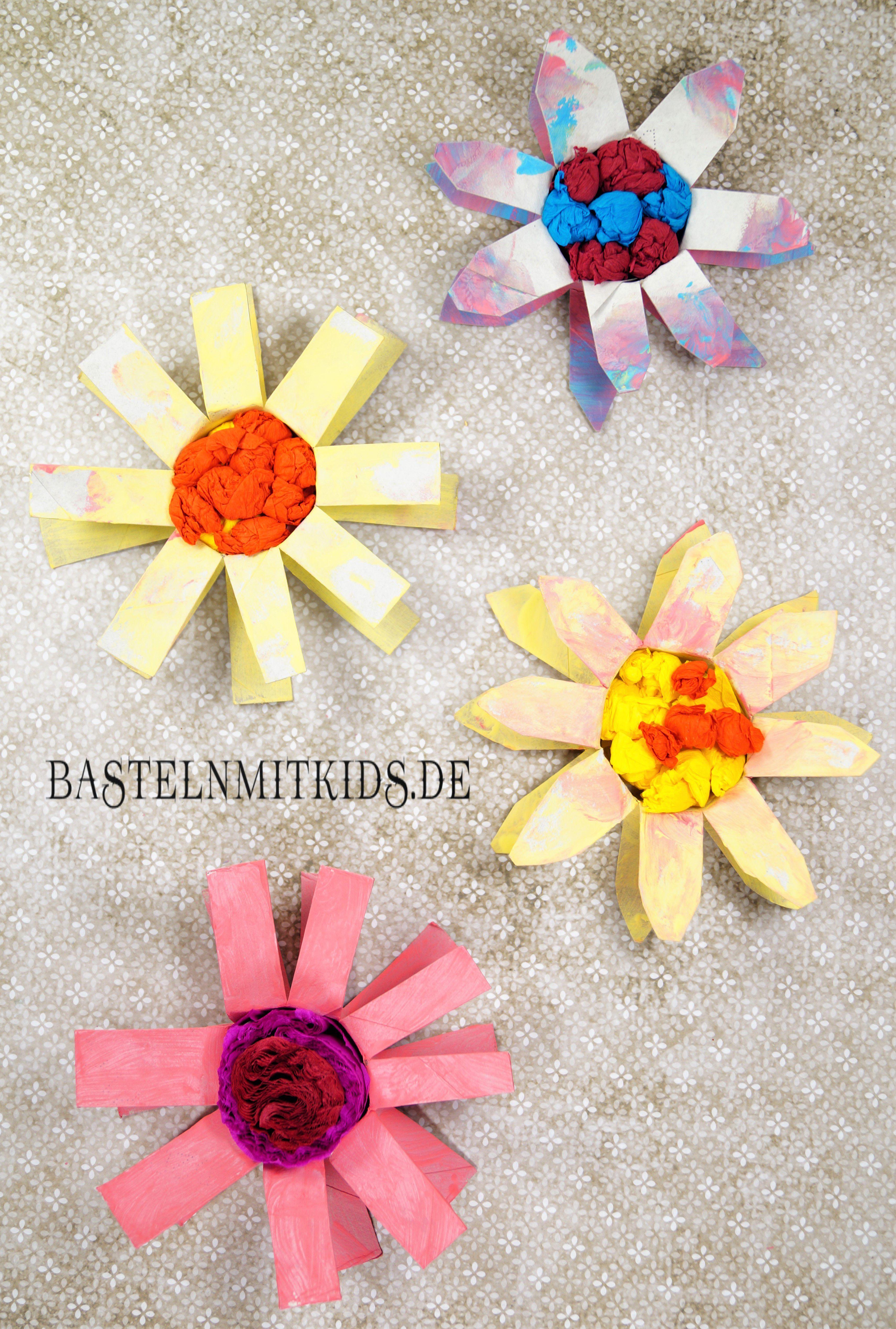 papierblumen selber machen mit kindern | bastelideen für den sommer