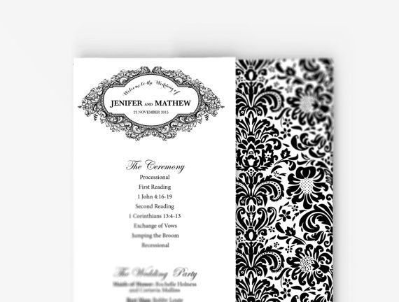 Wedding program word template Classic black and white design - how to design wedding program template
