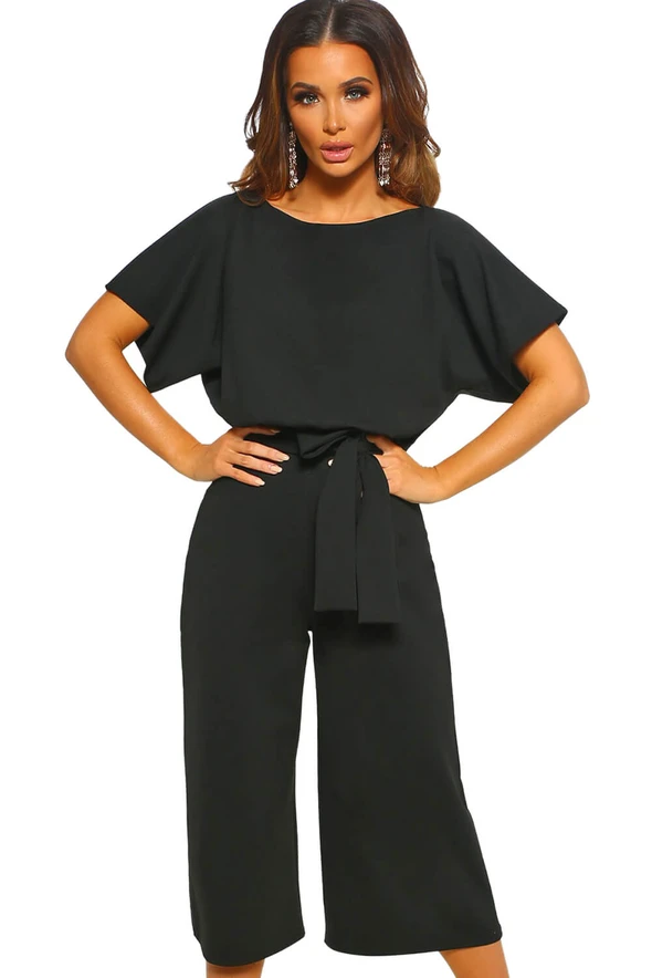 Longwu Womens Summer Bat Wing Sleeve Jumpsuit Casual Loose Overall Rompers with Belt