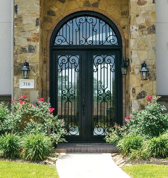 Buffalo Forge Steel Entry Door with Milano Wrought Iron design ...