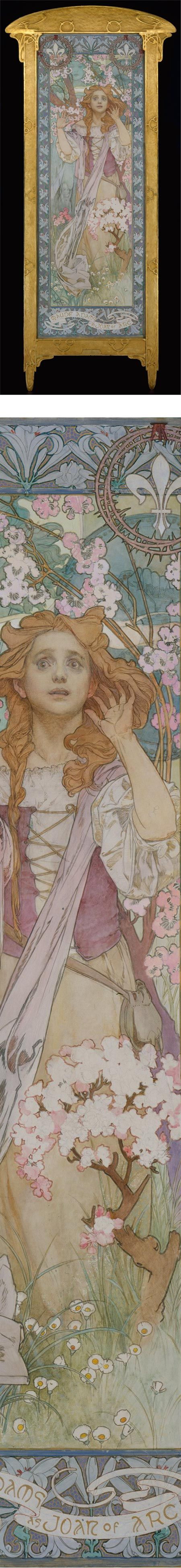 Hearing The Voice.    Oil on canvas. Mucha designed the frame as well.    In the Metropolitan Museum of Art.   Hosted on Lines and Colors blog; Charley Parker