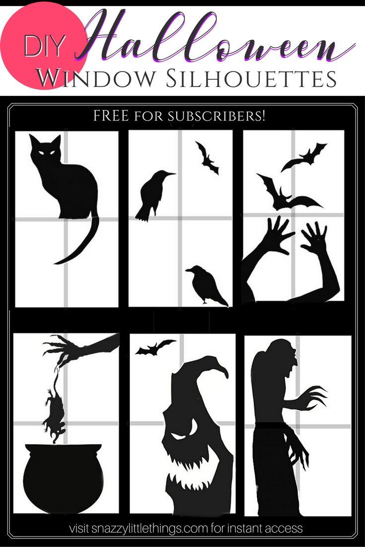 Free Downloads: Halloween Window Silhouettes | Halloween window ...