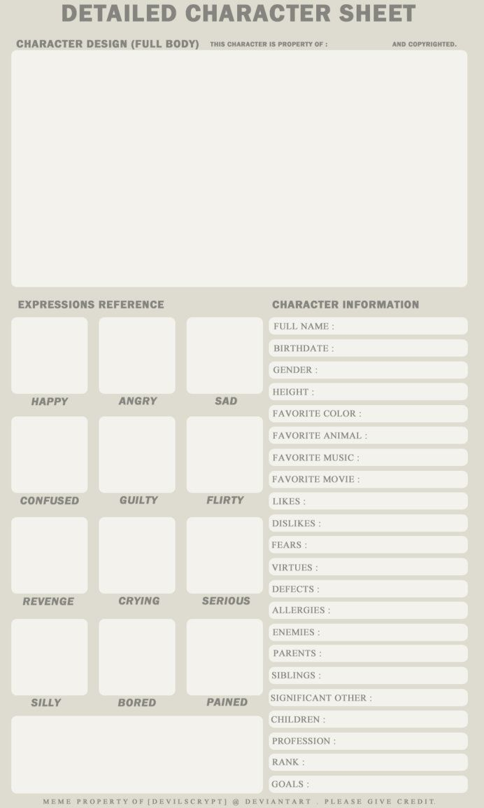 Character information sheet - Detailed Character Sheet By Devilscrypt Deviantart Com On Deviantart