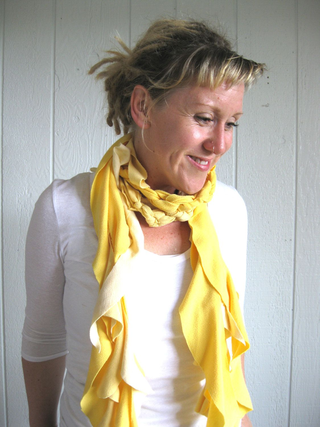 Eco Friendly. Upcycled T-Shirt. Let The Sunshine In. Yellow. Summer Scarf Set. FREE Shipping. $29.00, via Etsy.