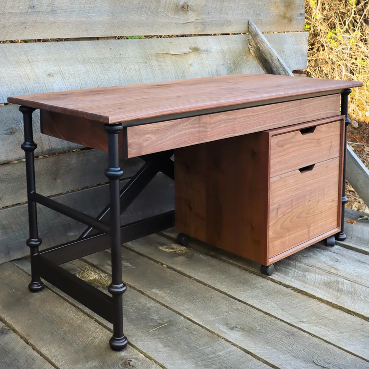 Rolling File for Industrial Farmhouse Writing Desk