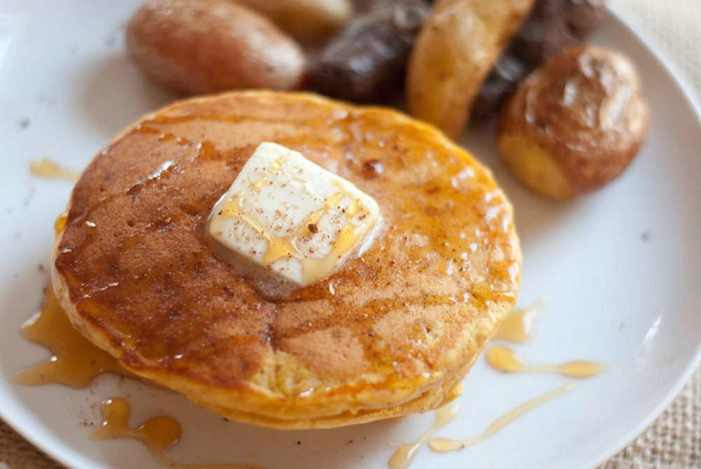 pumpkin pancakes  Try with white whole wheat flour and a flax egg??