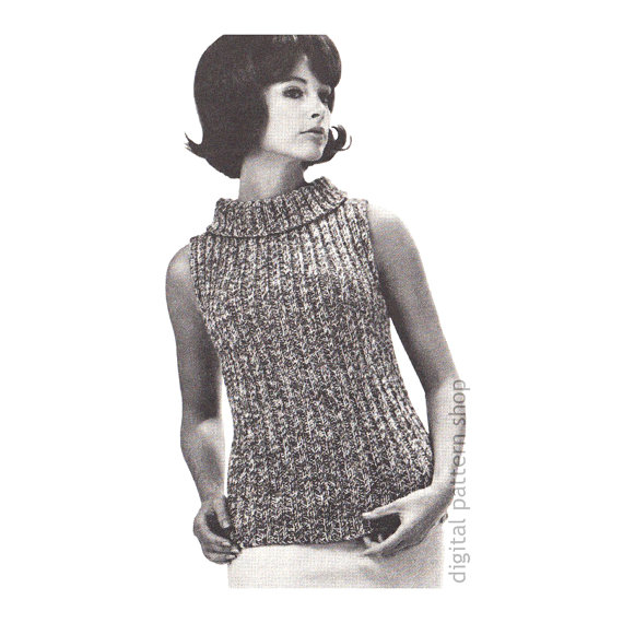 d3e071d721ca85 Knit Sweater Pattern Slim Sleeveless Shell Top Knitting Pattern Turtleneck  Jumper Twisted Rib Knit S Turtleneck