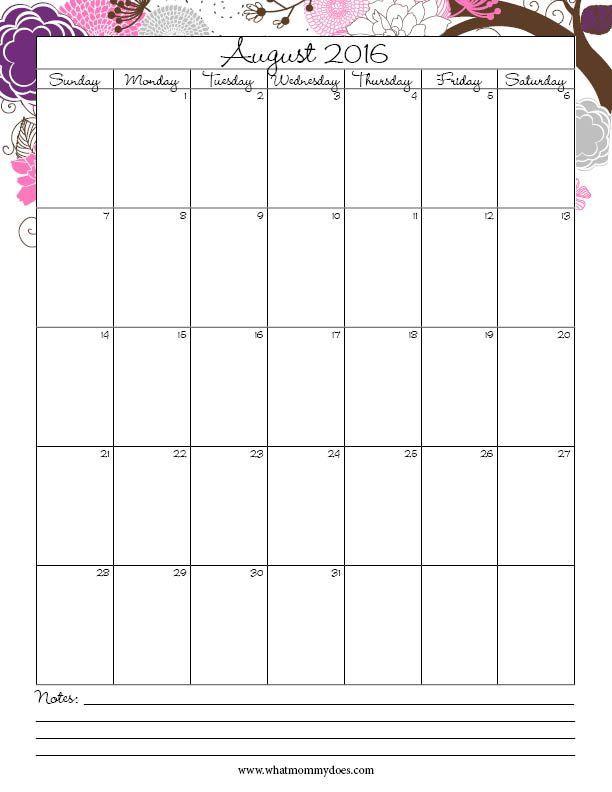 Printable Calendar August 2016