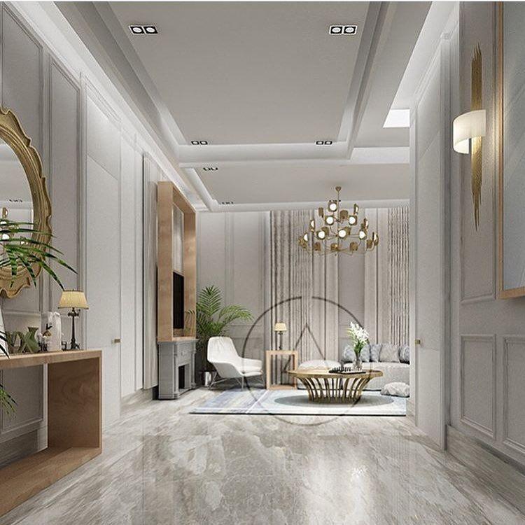 التصميم الداخلي العصري On Instagram تصميمنا الداخلي لفيلا بستايل كلاسك عصري استوحينا الافكار الداخلية من الوان الهادئة الرصاصية Home Decor Living Room Room