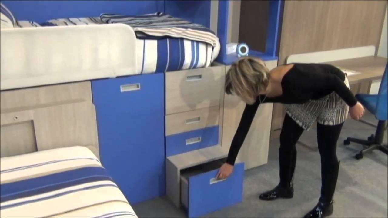 Ideas de dormitorios juveniles con camas tipo tren y compactos con mesa videos como funcionan - Habitaciones juveniles tipo tren ...