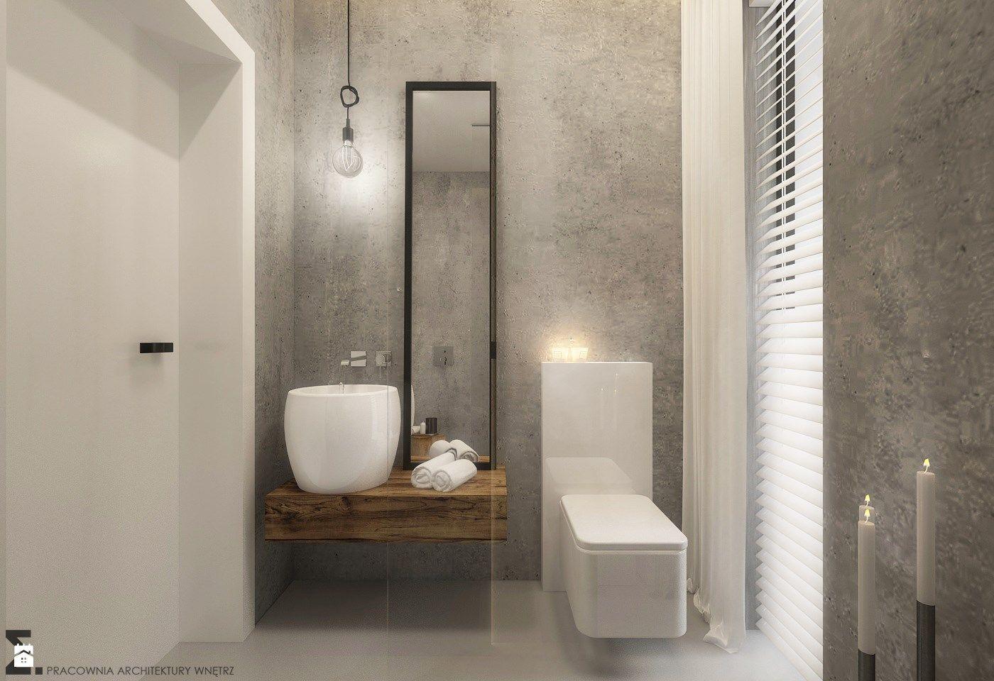 Wystrój Wnętrz Mała łazienka Z Betonem Na ścianie