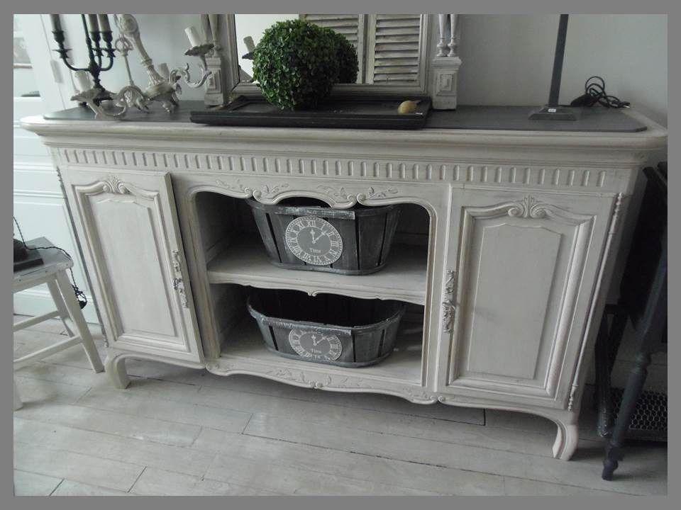 console buffet en ch ne ancien revisit patin perle et. Black Bedroom Furniture Sets. Home Design Ideas