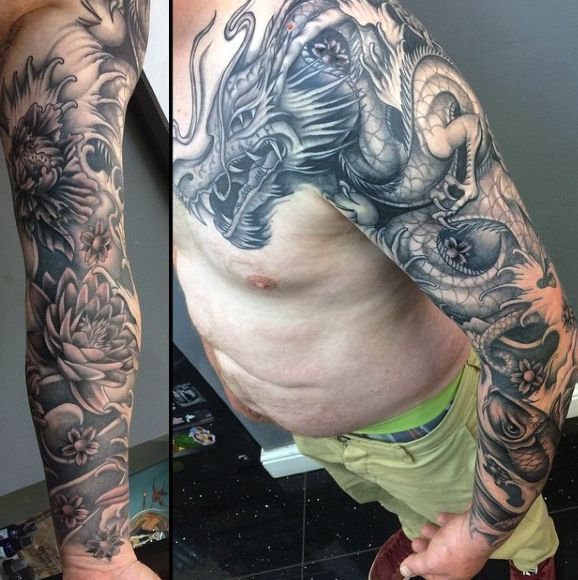 100 Dragon Sleeve Tattoo Designs For Men Fire Breathing Ink
