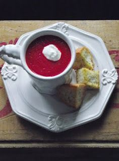 Roasted Carrot and Beet Soup: Super good. I made grilled cheese croutons to go with.