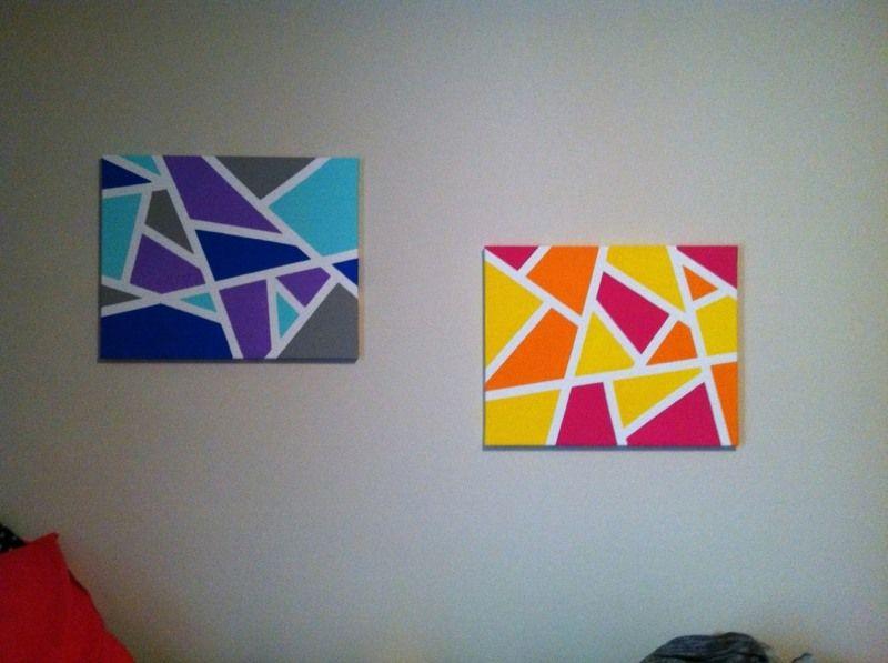 Peinture sur toile et tableau d coratif faire soi m me pour customiser l int rieur - Tableau a faire soi meme facile ...
