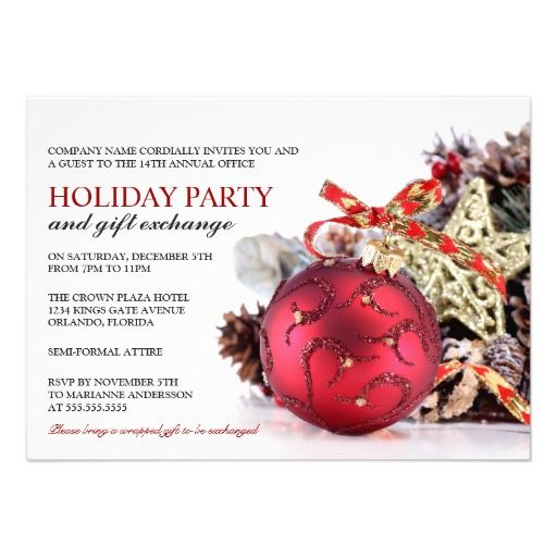 Corporate Holiday Party \ Gift Exchange Invitation Red christmas - business invitations templates