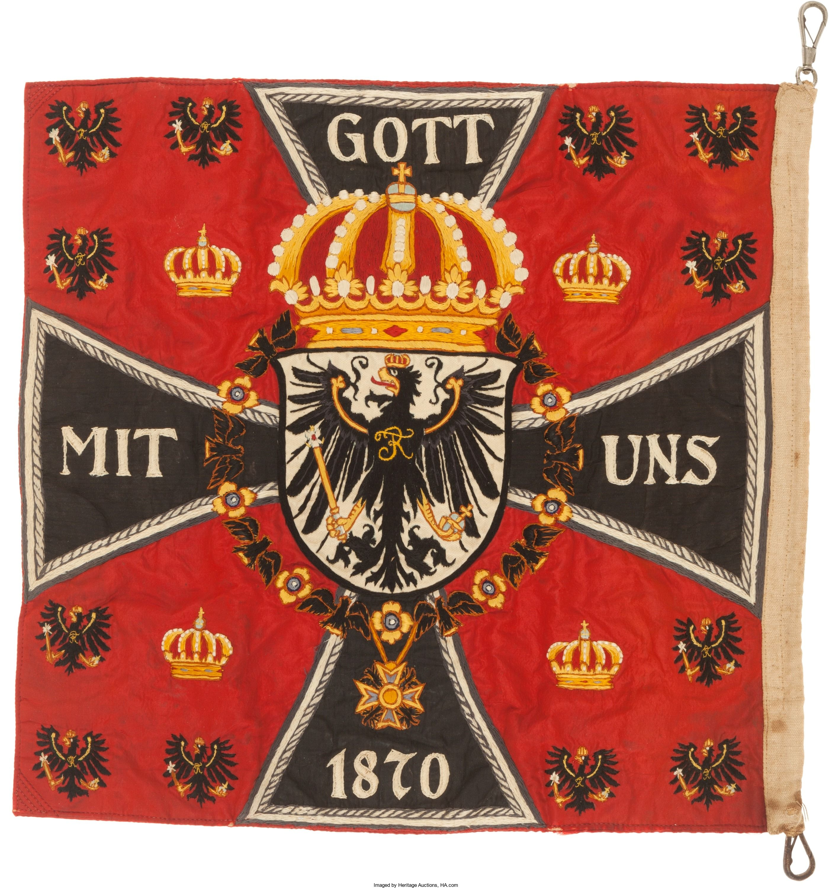 Prussian Royal Standard C 1914 Embroidered On Silk 13 X 13 With A Bunting Fly And Snap Swivels The Standard Is Double Sided And May Have Been Symbolen