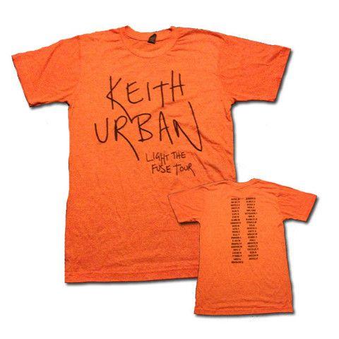 Light The Fuse Tour Orange Tee $30.00 #LightTheFuseTour #FUSE #KeithUrban