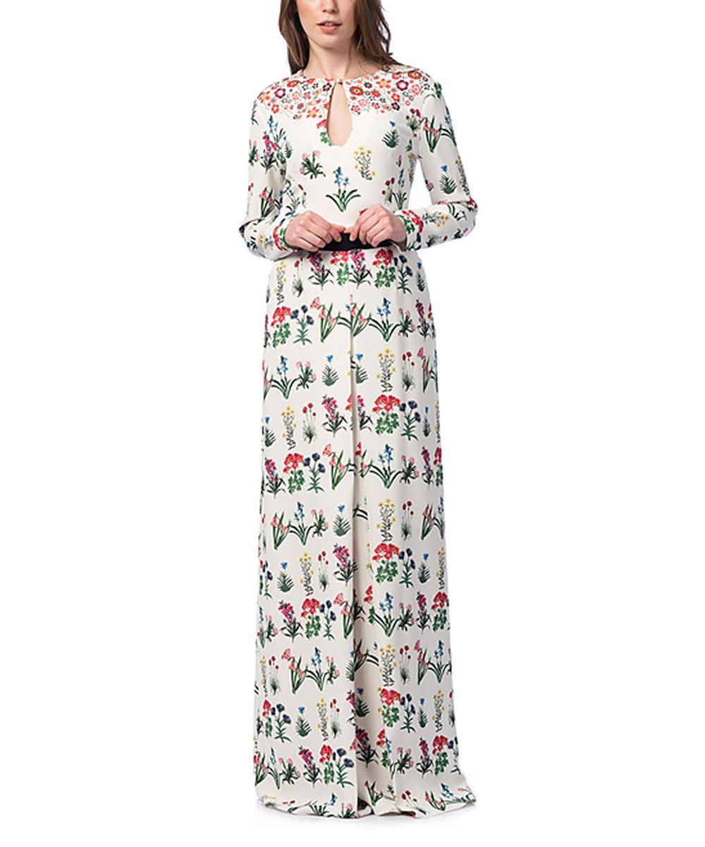 Look at this myra europe ecru floral keyhole maxi dress on zulily
