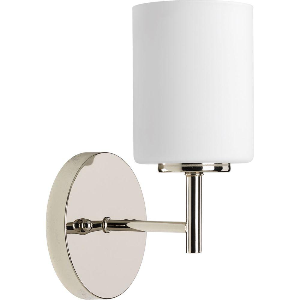 Progress Lighting Replay 1 Light Polished Nickel Bath Sconce With Frosted Glass Shade P2131 104 The Home Depot Progress Lighting Bathroom Wall Sconces Sconce Lighting